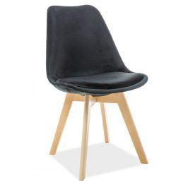 Casarredo Jídelní čalouněná židle DIOR VELVET černá/buk