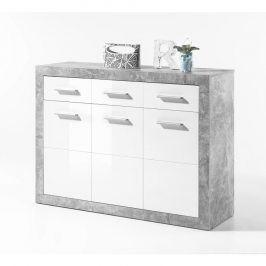 Tempo Kondela Komoda SLONE 2 3Z + 3D - dekor beton / bílá