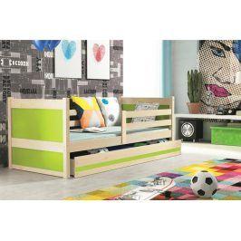 Falco Dětská postel Riky 90x200 - borovice/zelená