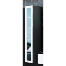 ATAN Vitrína VIGO vysoká, prosklené dveře, šedá/bílá - II. jakost