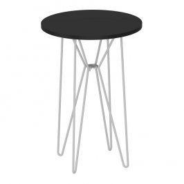 Tempo Kondela Příruční stolek RUBEN - černý dub / bílé kovové nohy