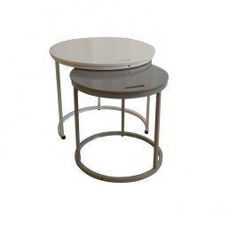 Tempo Kondela Příruční stolek NERIMAN 2v1 - bílá / šedá