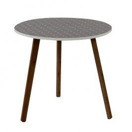 Tempo Kondela Příruční stolek HANSON - šedá / dřevo natural