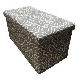 Tempo Kondela Skládací taburet FARGO - tkanina v šedém vzoru
