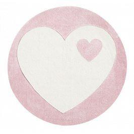 Forclaire Dětský kulatý koberec srdíčko bílo - růžový