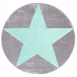 Forclaire Dětský kulatý koberec STARS stříbrnošedý/ mátový