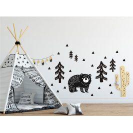 Forclaire Dekorace na zeď Medvěd v lese černý