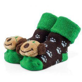 Attractive Chlapecké ponožky s pejskem - hnědo-zelené