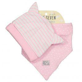 Blue Seven Dívčí set čepičky a šátku - růžový