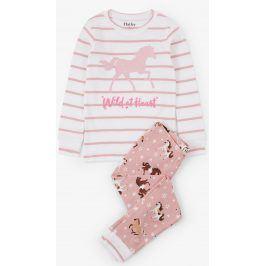 Hatley Dívčí pyžamo s koňmi - růžové