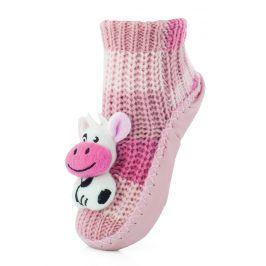 Attractive Dívčí ponožky s podrážkou Kravička - růžové