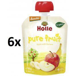 Holle BIO ovocné pyré jablko, banán 6x90g - kapsička
