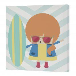 Happynois Nástěnný obraz Surf Time - dívka, 27x27 cm