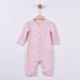 Kitikate Dívčí pletený overal se vzorem - růžové