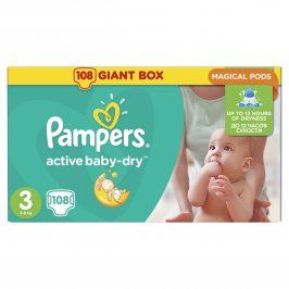 Pampers Active Baby-dry 3 Midi, 104 ks (6-10 kg) Gigant pack +