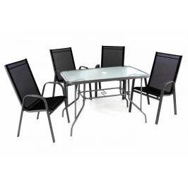 Garthen 40751 Zahradní skládací set stůl + 4 stohovatelné židle - černá