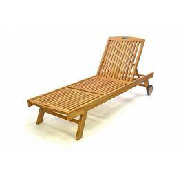 Divero 32597 Zahradní lehátko z týkového dřeva s kolečky