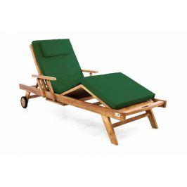 Divero 60405 Zahradní dřevěné lehátko z teakového dřeva s podložkou -  tmavě zelená