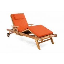 Divero 60460 Zahradní dřevěné lehátko z teakového dřeva s podložkou -  oranžová