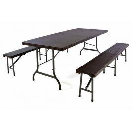 Garthen 43775 Zahradní set v ratanové optice - stůl + 2 lavice - 180 cm