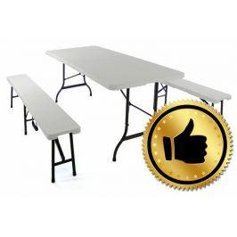 Garthen 341 Skládací zahradní stůl 183 cm + 2 lavice