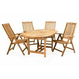 DIVERO 2342 Zahradní nábytek z týkového dřeva - 1x stůl, 4x masivní židle