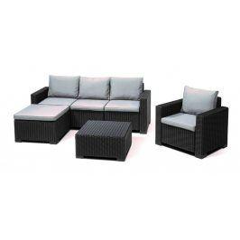 Allibert MOOREA 54576 Zahradní polyratanový set grafit + šedé podušky