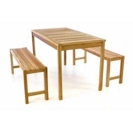 Divero 47272 Zahradní set lavic a stolu - neošetřené týkové dřevo - 135 cm
