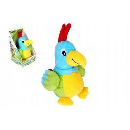 Papoušek mluvící plyš 2na baterie se zvukem v krabici 15x25x16cm