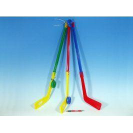 Hokejka plastová s pukem 7mix barev