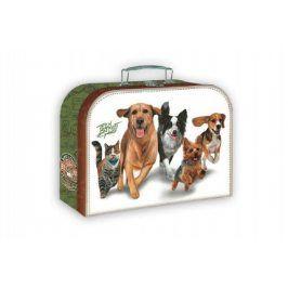 Šitý kufr/kufřík běžící zvířata 35x23cm