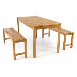 Divero 47284 Zahradní set lavic a stolu - ošetřené týkové dřevo - 135 cm