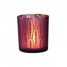 DELIGHT Svícen na čajovou svíčku žebrovaný - fialová