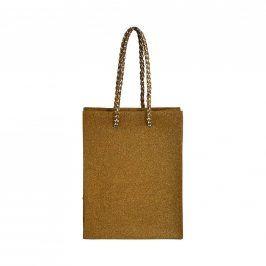 PRESENT Mini dárková taška se třpytkami - zlatá