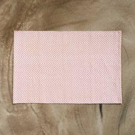 SILENT DANCER Koberec rybí kost 60 x 90 cm - růžová/bílá