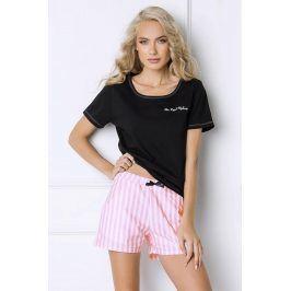 Dámské pyžamo Royal s proužky  černá/růžová