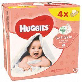 Huggies Soft Skin dětské ubrousky Quatro 4 x 56 ks