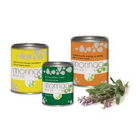 Moringa MIX Bylinná směs moringy s heřmánkem 100 g + Moringa oleifera 180 kapslí + Bylinná směs moringy se šalvějí 100 g