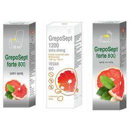 OVONEX s.r.o. GrepoSept FORTE 800 ústní sprej 25 ml + Greposept FORTE 800 sprej na nohy 100 ml + GrepoSept EXTRA STRONG 1200 limitovaná edice 50 ml