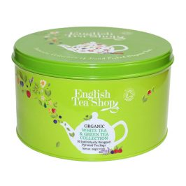 English Tea Shop Dárková kulatá zelená plechovka – BIO zelené a bílé čaje – 30 pyramidek
