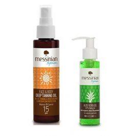 Messinian Spa Opalovací olej na obličej a tělo SPF 15 100 ml + Aloe Vera Gel 100 ml