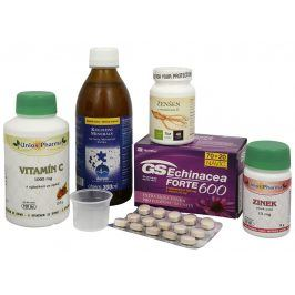Sada Na Imunitu IV. - Aurum Koloidní minerály 300 ml + GreenSwan GS Echinacea FORTE 600 70 tbl. + 20 tbl. zdarma + Walmark Ženšen 30 tbl. + Unios Pharma Vitamín C 1000 150 tbl. + Zinek 15 mg