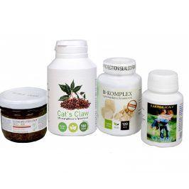 Sada Na Kůži I. -Olimpex Cat´s Claw 150 tbl + Natural Medicament B-komplex Premium 120 tbl. + Natural Medicament Symbi II 60 kapslí + Dědek Kořenář Ostropestřecový olej (kaše) 100 ml