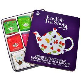 English Tea Shop Dárková plechová kazeta - výběr ovocných a bylinných čajů 72 sáčků/9 příchutí