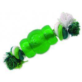 Hračka DOG FANTASY Strong Mint soudek gumový s provazem zelený 6,9 cm