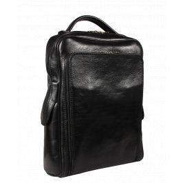 Černý kožený batoh do města Velio Nera