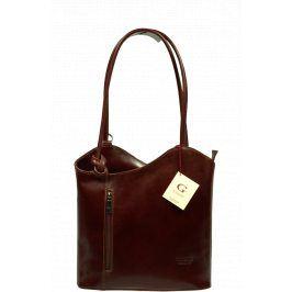 Hnědý kožený batůžek Clarise Marrone