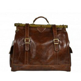 Cestovní kožená taška Sabrine Marrone Scura
