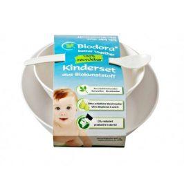 Dětský jídelní set z bioplastu - bílý Biodora