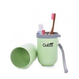 GoEco Bambusové cestovní pouzdro 3v1 - zelené